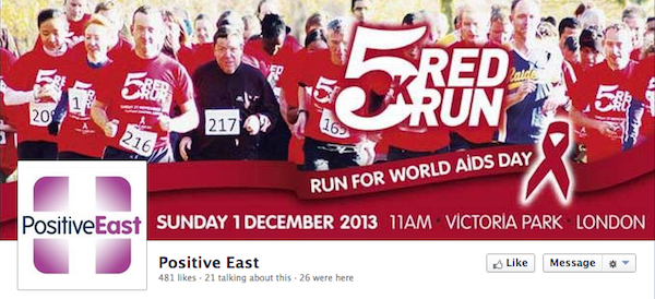 Positive East use their charity's Facebook page banner to brand their other communications