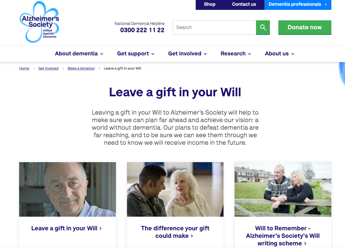 Alzheimers Society legacy fundraising webpage