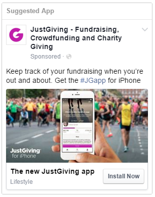 JustGiving iPhone app ad on Facebook