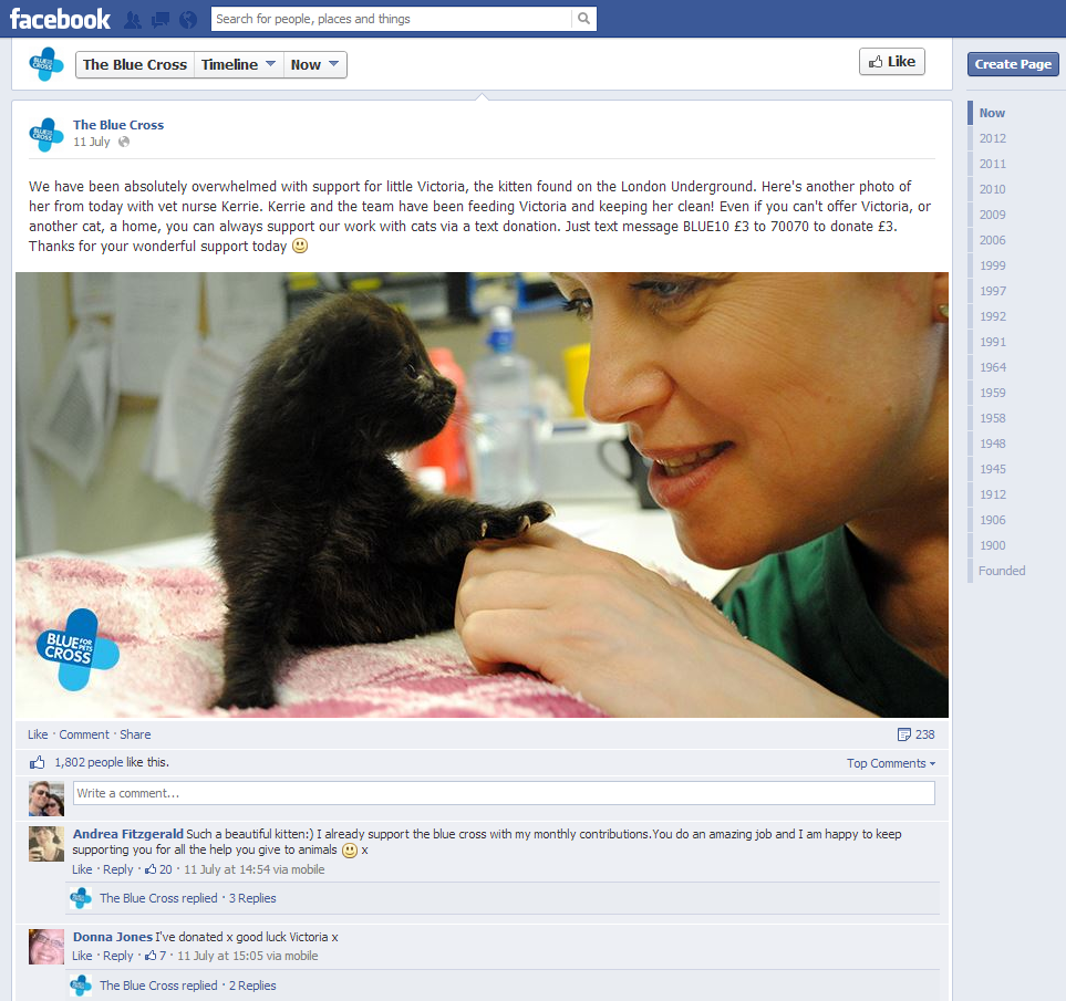 Blue Cross Facebook page