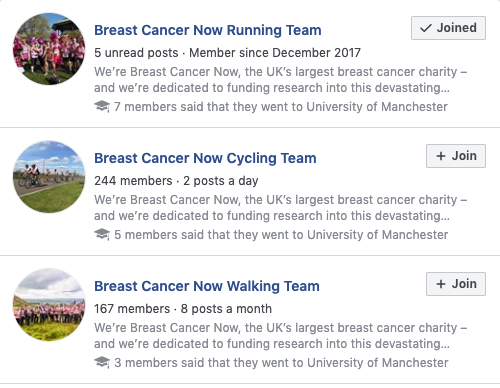 Breast Cancer Now - FB Groups