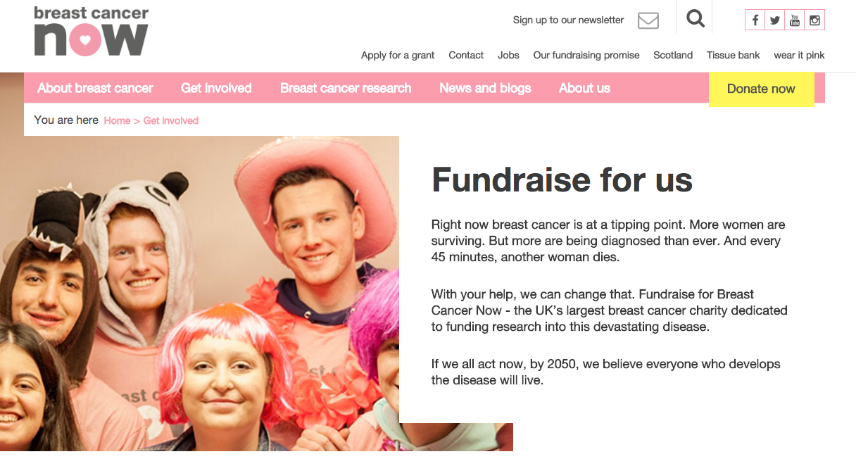 Breast Cancer Now fundraising page copy