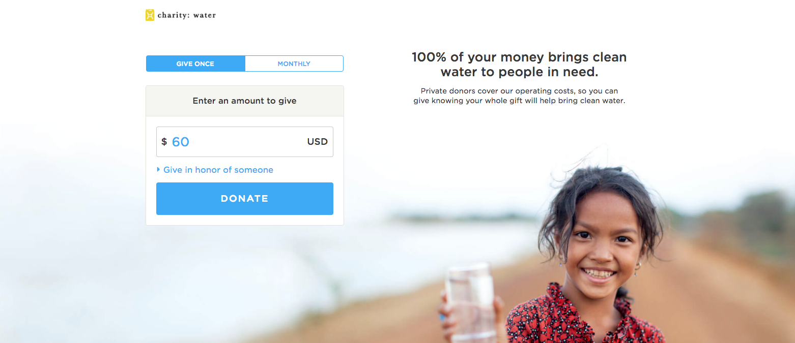 Charity Water Donation page