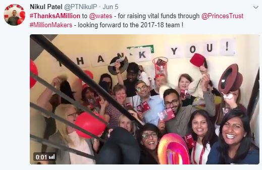 A tweet from a Prince's Trust colleague