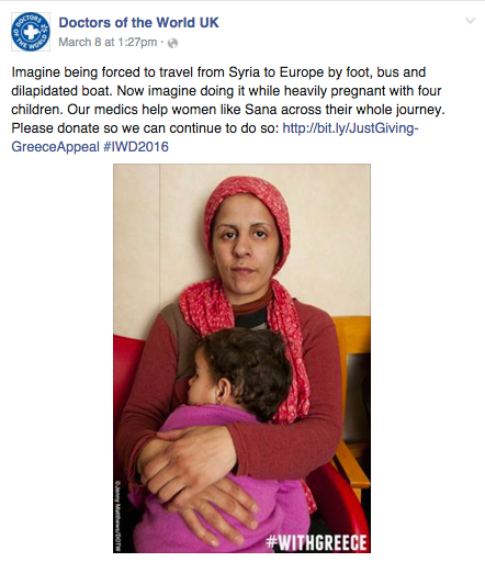 Doctors of the World Facebook post about a mum of four arriving in Greece