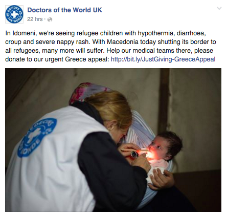 Doctors of the World Facebook post about the illnesses volunteers are treating babies and young children for