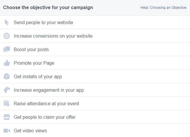 Facebook Advert objectives