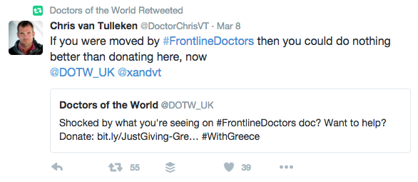 Tweet about Frontline Doctors, a BBC documentary about the refugee crisis in Europe
