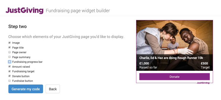 Fundraising page widget builder in a JustGiving charity account