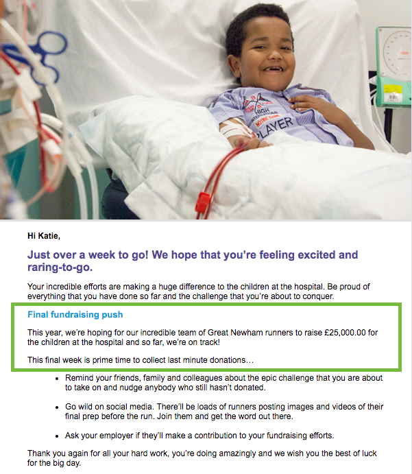 GOSH Charity email with group fundraising target