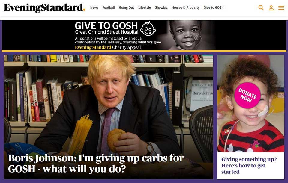 Screengrab of GOSH/Evening Standard landing page
