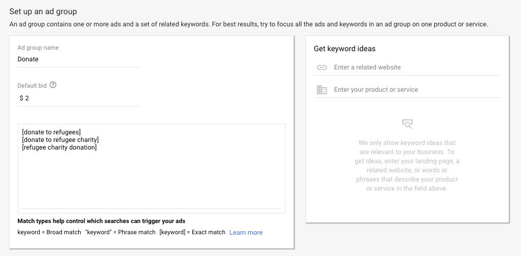 Google AdWords Ad Group set up