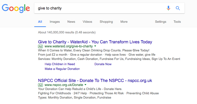 Google SERP showing charity ads