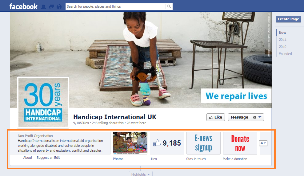 Handicap International Facebook page