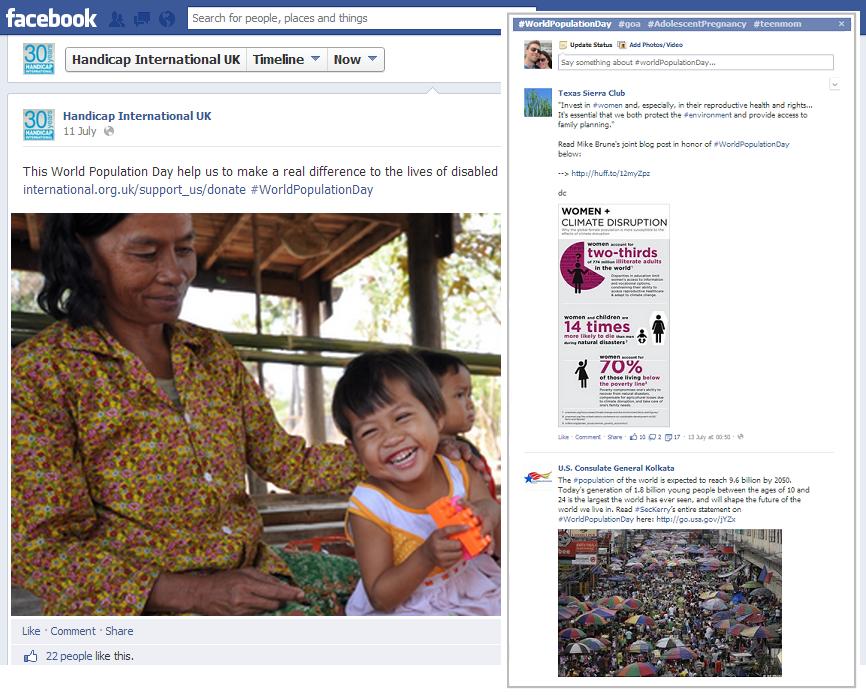 Handicap International using the Facebook hashtag