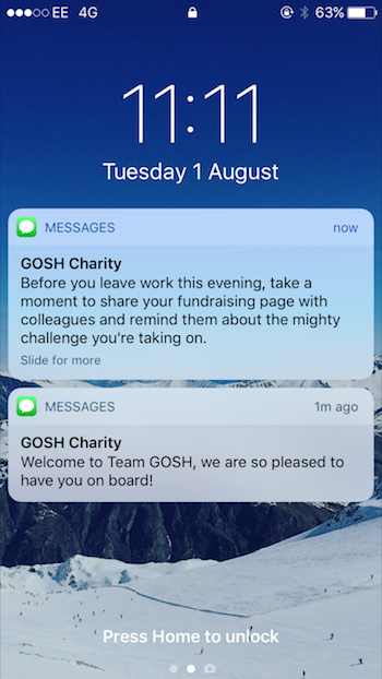 Screenshot of SMS messages from GOSH Charity