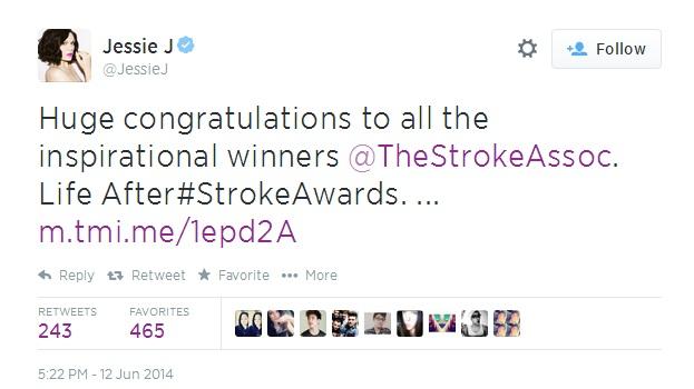 Jessie J Stroke Awards tweet