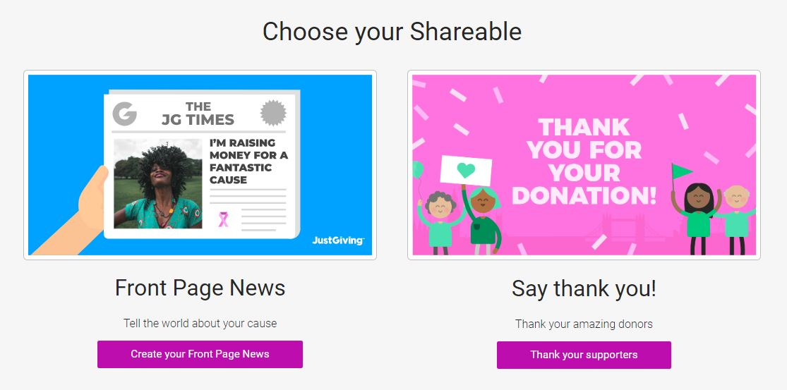 JustGiving Shareables