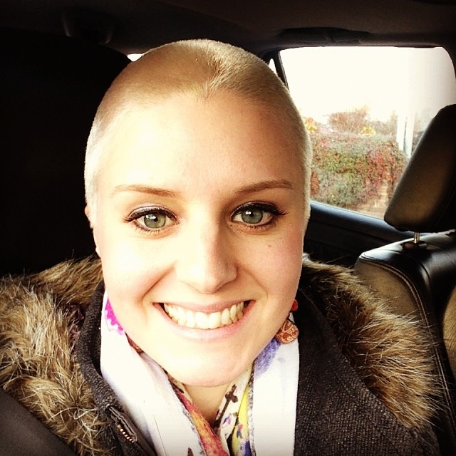 Kate Thomas after her fundraising head-shave