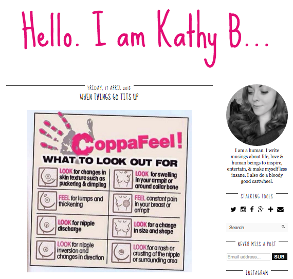 Screen shot of Kathy's B's blog featuring CoppaFeel