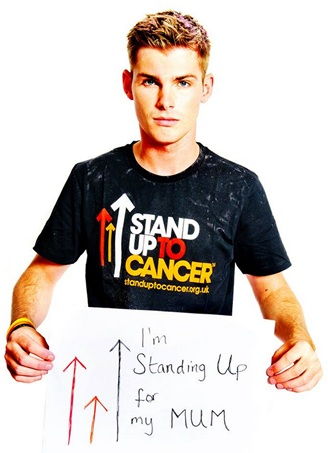 Kieron Richardson supporting Stand Up To Cancer