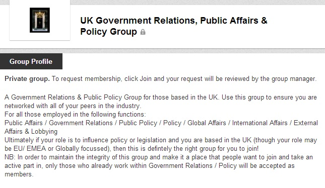 UK Government Relations, Public Affairs and Policy Group