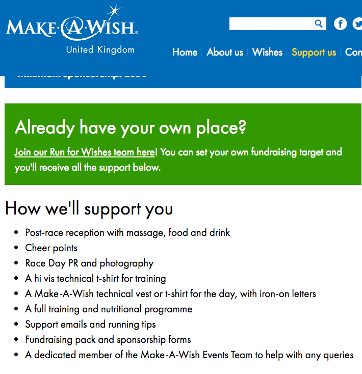 Make A Wish use of sharp bullet points