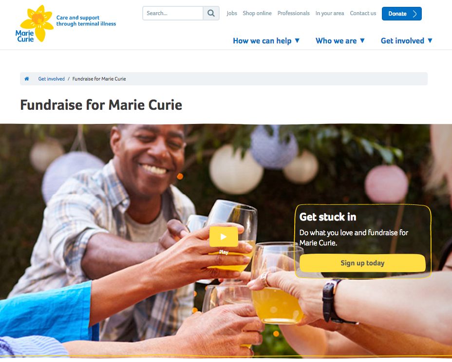 Marie Curie fundraising page