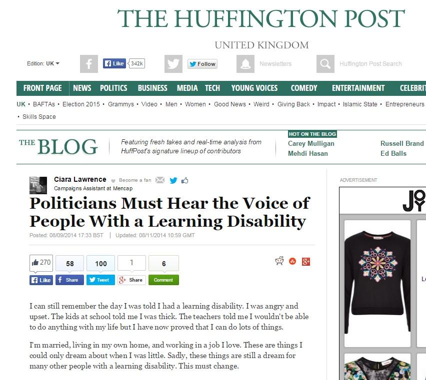 Mencap Huffington Post