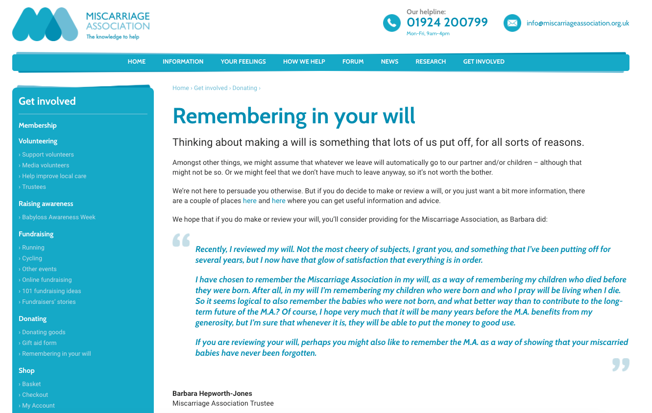 Miscarriage Association legacy fundraising webpage