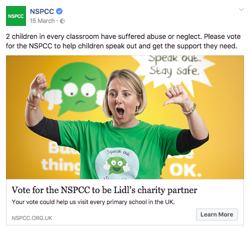 NSPCC Lidl Charity of the Year Facebook ad