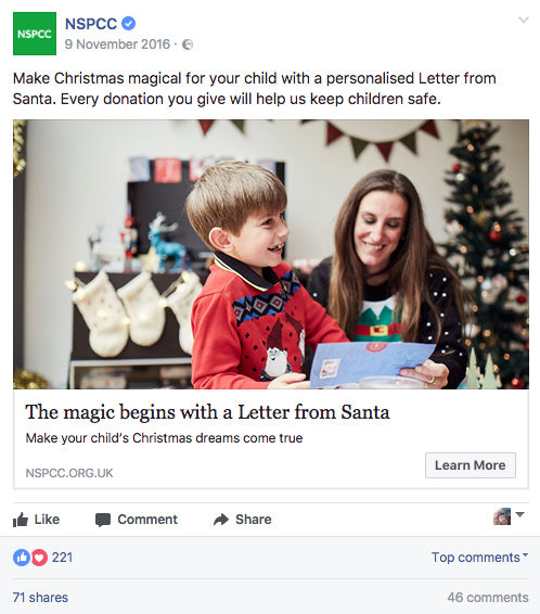 Letter From Santa NSPCC Facebook ad