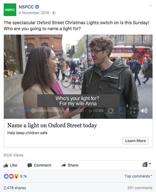 NSPCC Christmas Lights Facebook ad