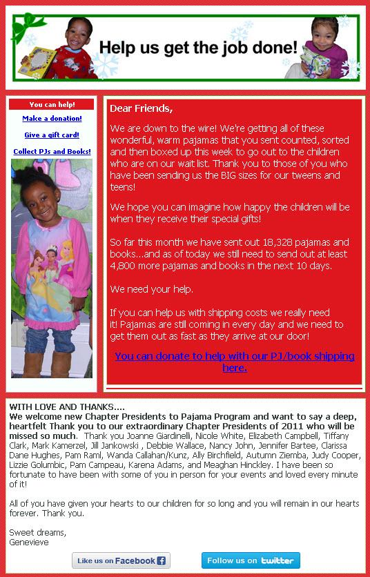 Pajama Program's email campaign
