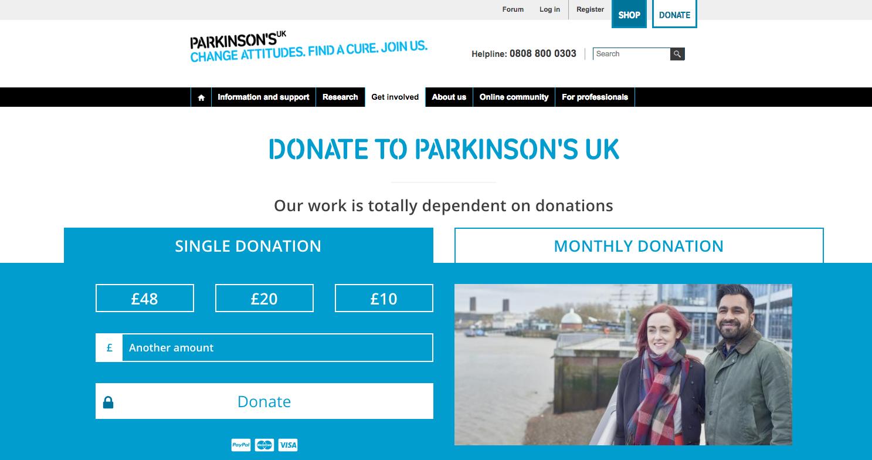 parkinsons-uk-donation-page