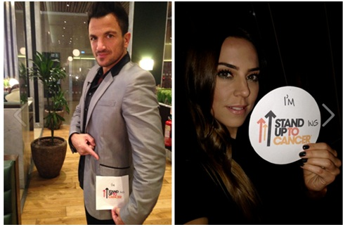 Peter Andre and Mel C supporting Stand Up To Cancer