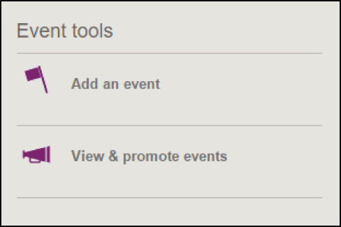 Screen shot of event tools section