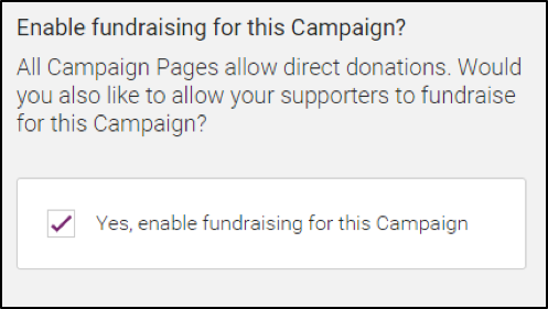 Screen shot of Campaigns tool