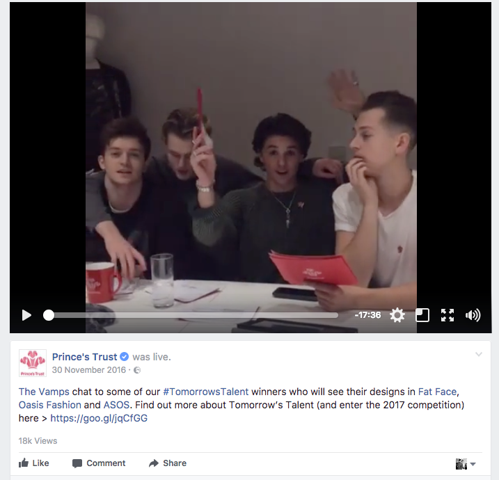 Prince's Trust and The Vamps Facebook Live videe