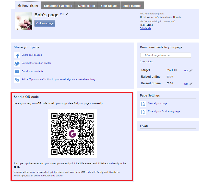 QR codes Fundraising Pages