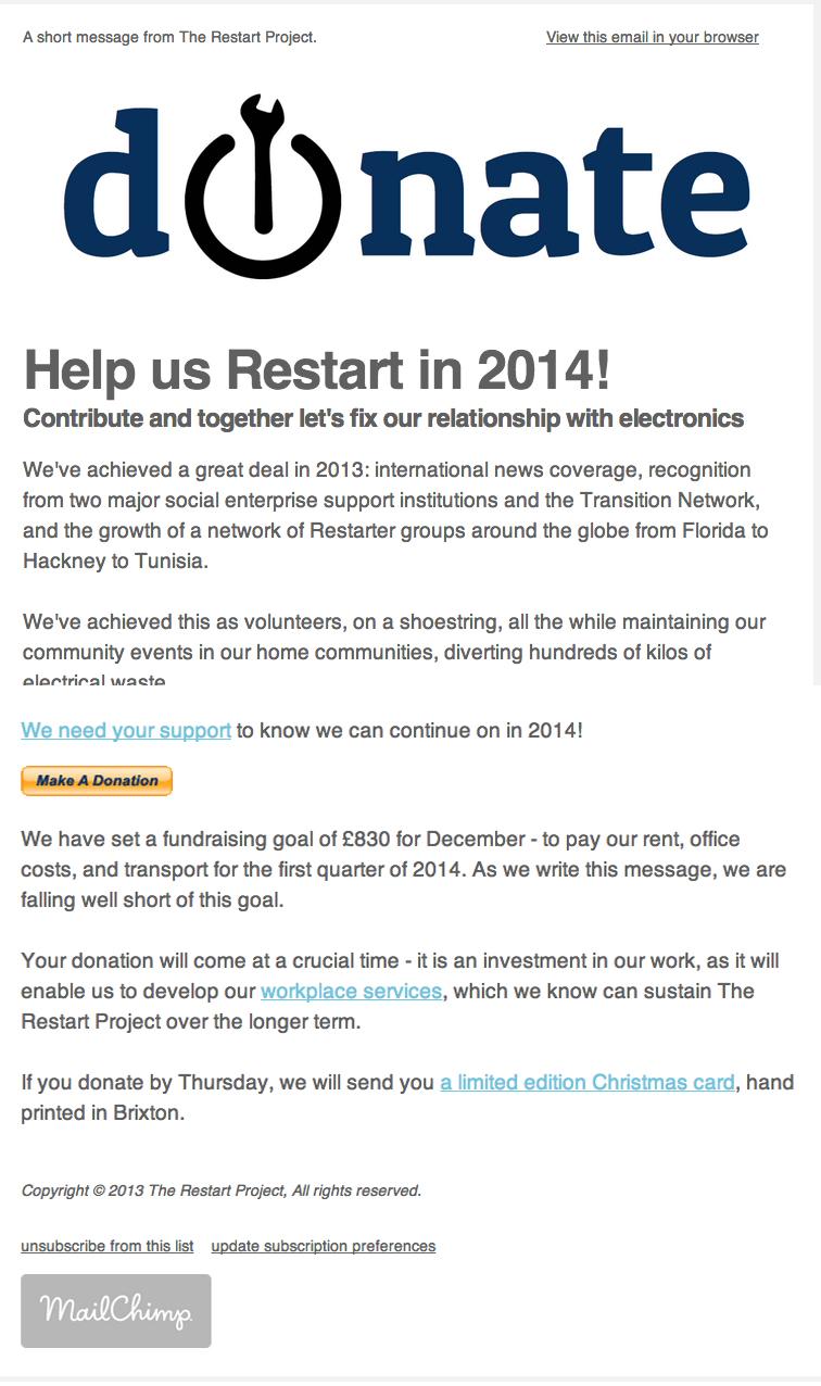 Restart email screenshot
