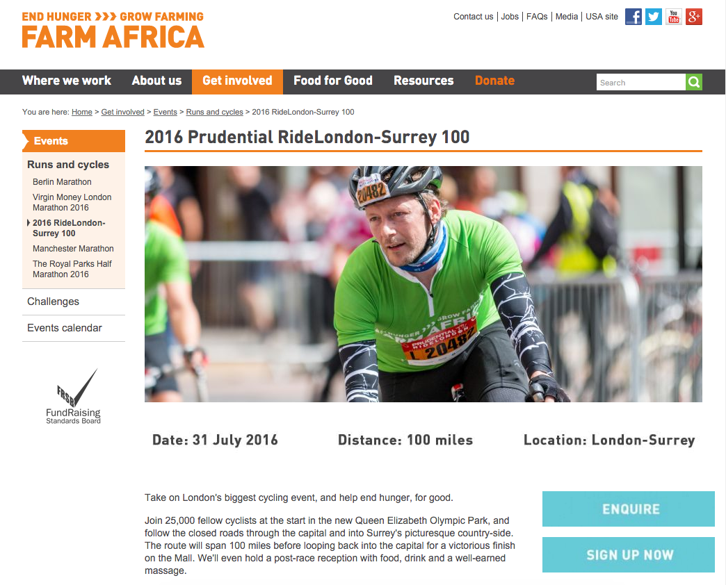 Farm Africa's sign up page for Ride London