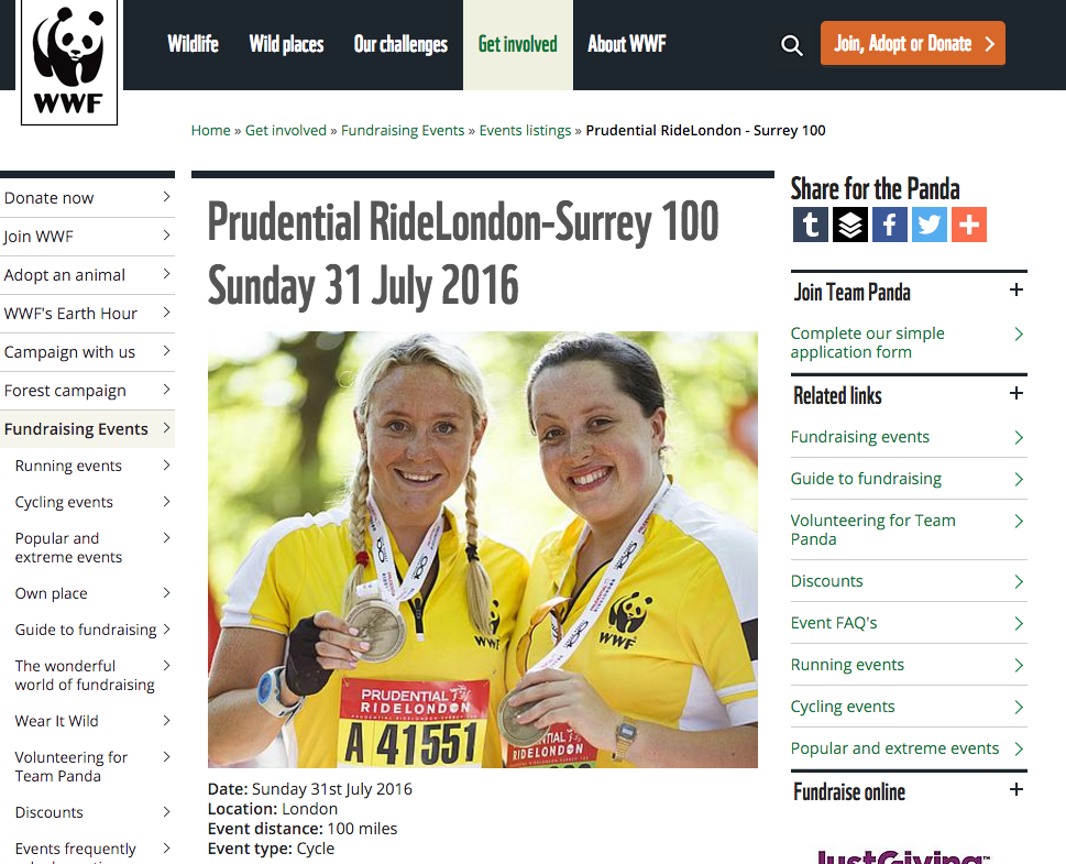 WWF's sign up page for Ride London