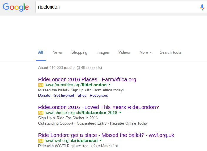 Screen shot of Google search results for Ride London
