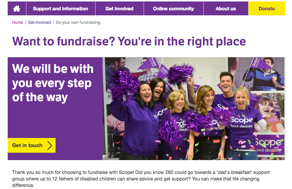 Scope fundraising page