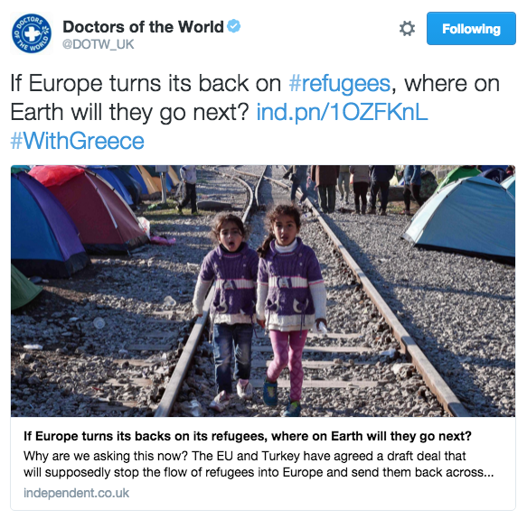 A Doctors of the World tweet sharing a news article from The Independent