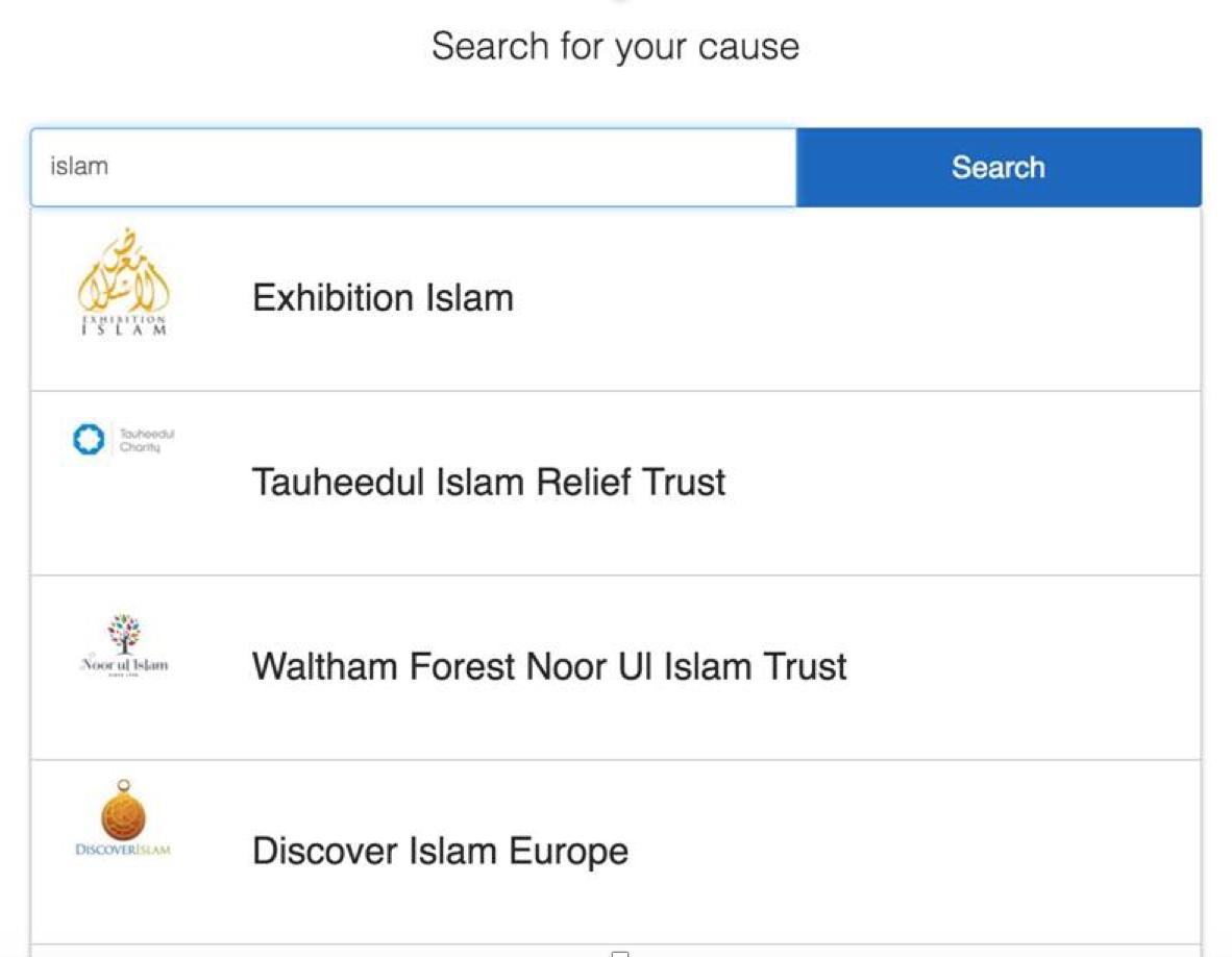 Charity search screenshot