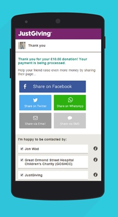 Sharing on Facebook mobile donation
