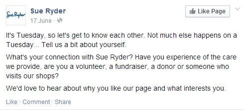 Sue Ryder Facebook post
