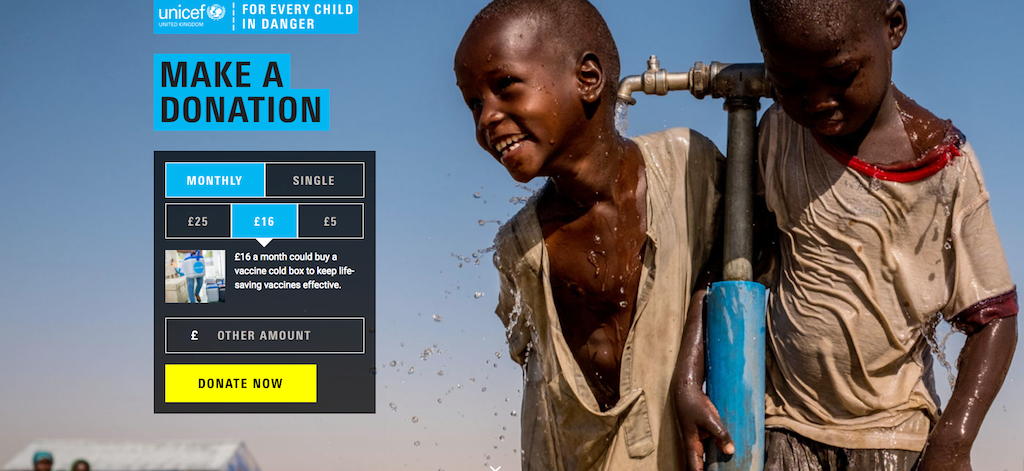 Unicef donation page